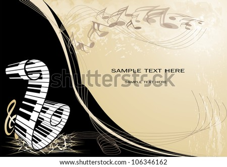 music background with piano keyboard and key notes