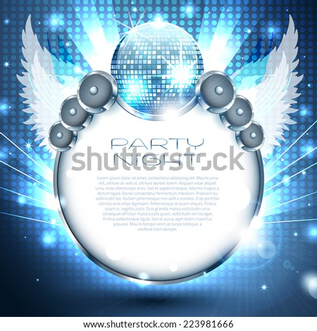 Music Background with speakers and disco-ball - Vector with place for your text - stock vector