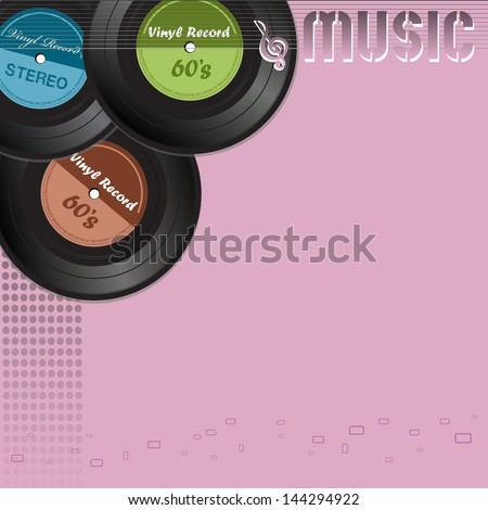 Music background with vinyl records and thin stripes and the text music written with pink letters - stock vector