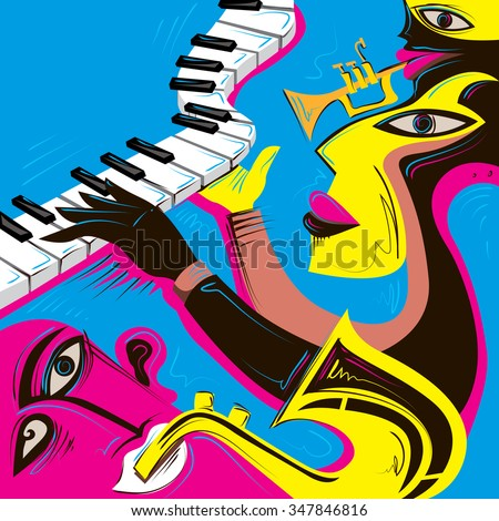 Music Band Colorful Poster (Vector Art) - stock vector