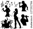 Music band performing in silhouettes - stock vector