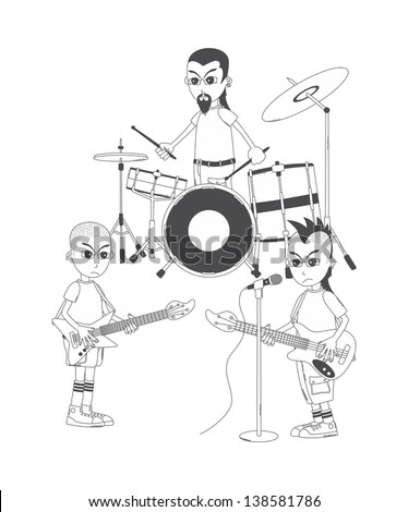 music band show cartoon outline art - stock vector