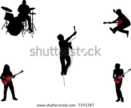 music band silhouettes - stock vector