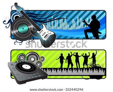 Music Banners - stock vector