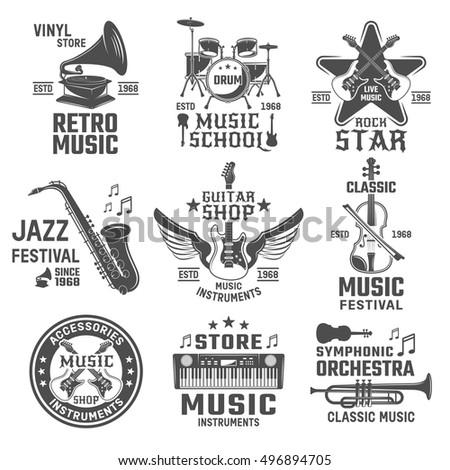 Music Black White Emblems Shops Festivals Stock Vector 2018