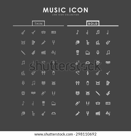 music-bold-and-thin-line-icons - stock vector