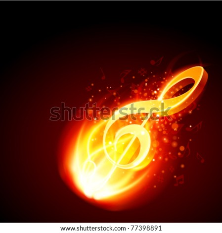 Music burn in fire gold 3d note vector background. Eps 10. - stock vector