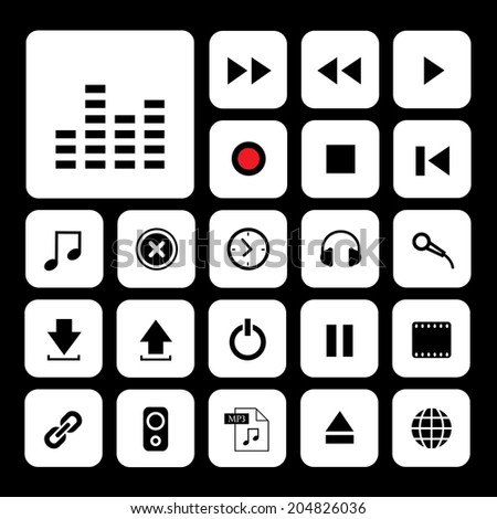 music button  icon set for media  - stock vector
