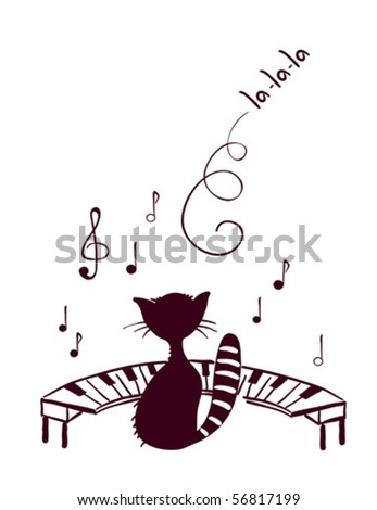 Music cat sings - stock vector