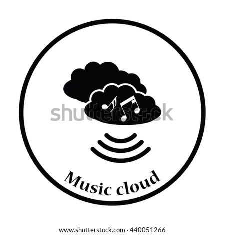 Music cloud icon. Thin circle design. Vector illustration. - stock vector