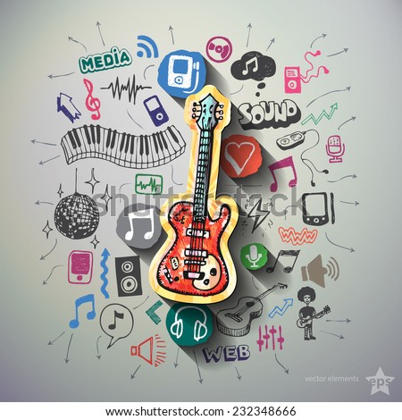 Music collage with icons background. Vector illustration - stock vector