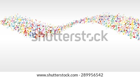 music color wave banner with notes - stock vector