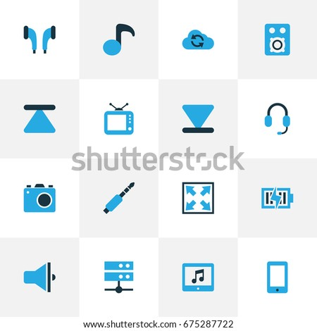 Music Colorful Icons Set. Collection Of Quaver, Headphone, Enlarge And Other Elements. Also Includes Symbols Such As Bottom, Tv, Note.