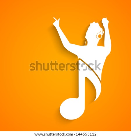Music concept with white silhouette of a singer with musical note on yellow background. - stock vector