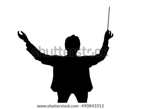 Music conductor back from a bird's eye view
