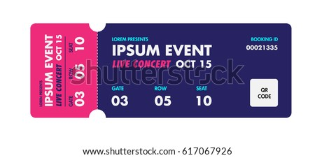 Music, Dance, Live Concert Entrance Vector Tickets Templates. Ticket For  Entrance To The  Event Ticket Template Free Download