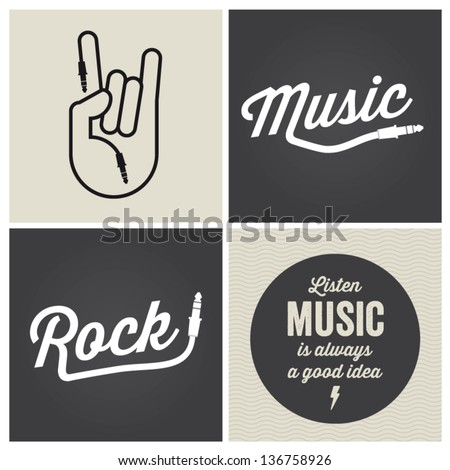 music design elements with font type and illustration vector - stock vector