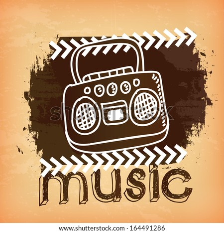 music design over pink background vector illustration - stock vector