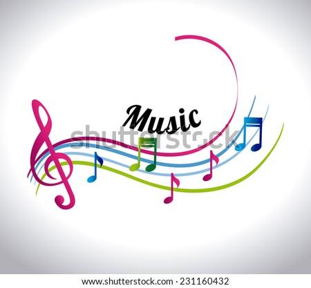 Music design over white background,vector illustration - stock vector