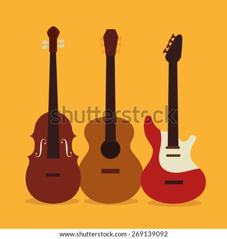 Music design over yellow background, vector illustration.