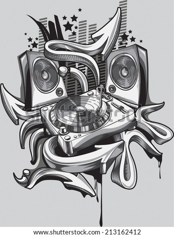 Music design - turntable & graffiti arrows - stock vector