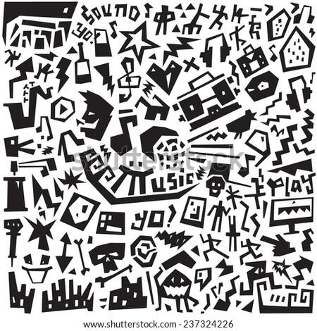 Music  - doodles set - stock vector