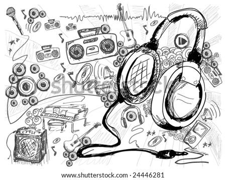 Music Doodles - Vector - stock vector