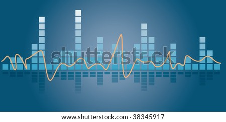 Music equalizer illustration on a blue background with reflection - stock vector