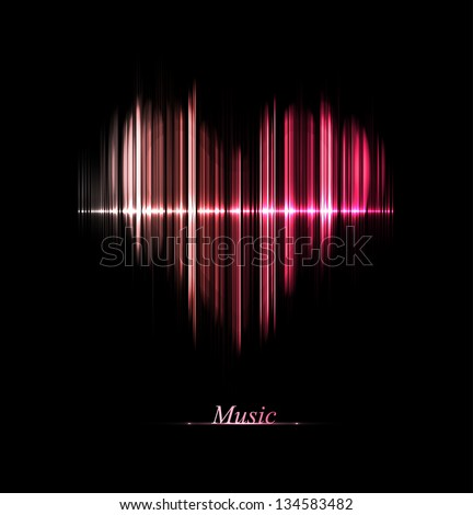 Music equalizer in form of heart. Eps 10 - stock vector