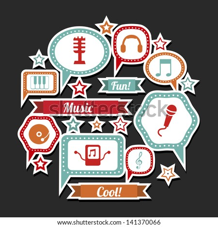 music expression icons over black background vector illustration - stock vector