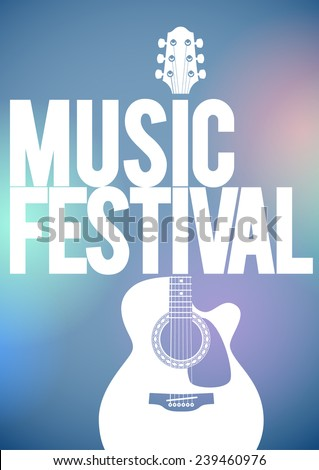Music festival concert poster template. Acoustic guitar shape on the blue background vector illustration. - stock vector
