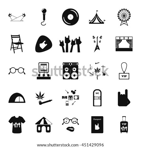 Music festival, live concert sex icon set on background - stock vector