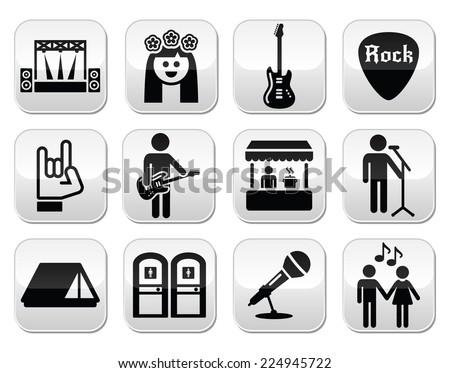 Music festival, live concert vector buttons set - stock vector