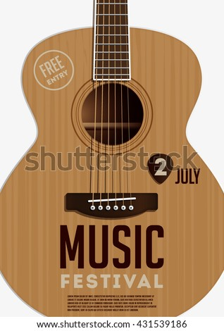 Music festival poster. Acoustic guitar - stock vector