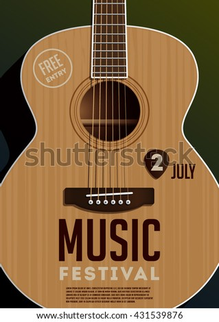 Music festival poster. Acoustic guitar. - stock vector
