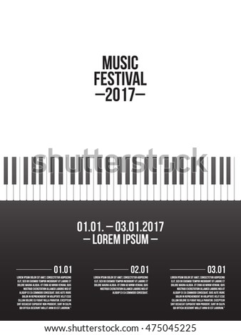Music Festival Poster Template Piano Keyboard Stock Photo (Photo ...