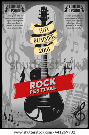Music festival poster with guitar and headline hot summer 2016 rock festival vector illustration