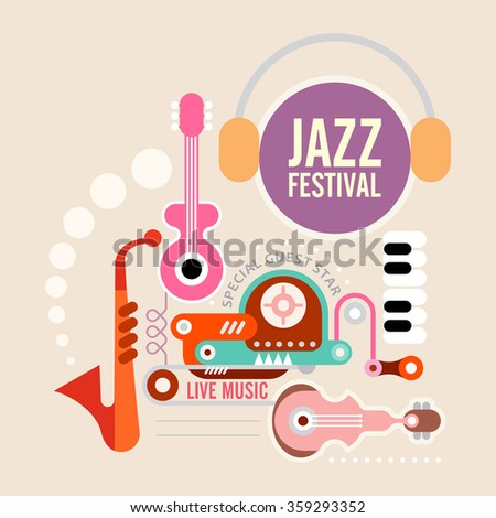 Music festival vector poster. Art composition of musical instruments on light grey background. - stock vector