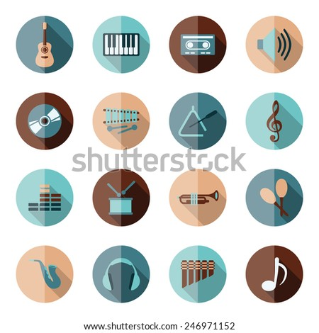 music flat icons - stock vector