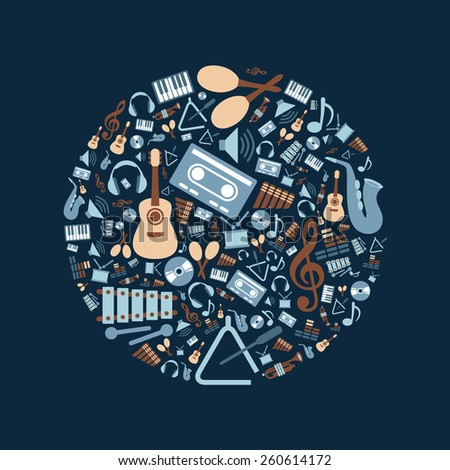 music flat icons in circle - stock vector