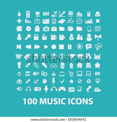 music flat icons set  for digital web, print, design, mobile phone apps, vector - stock vector