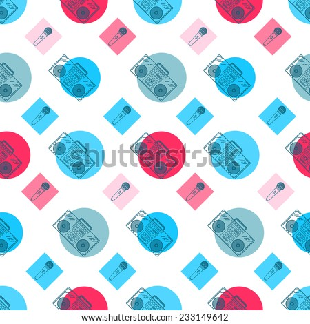 Music flat line retro seamless pattern with boombox, mic, cassete. Vector illustration for your artwork, poster, banners, print. - stock vector