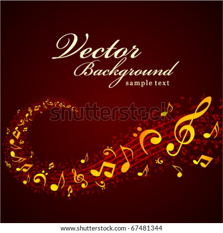 Music fly notes vector background - stock vector