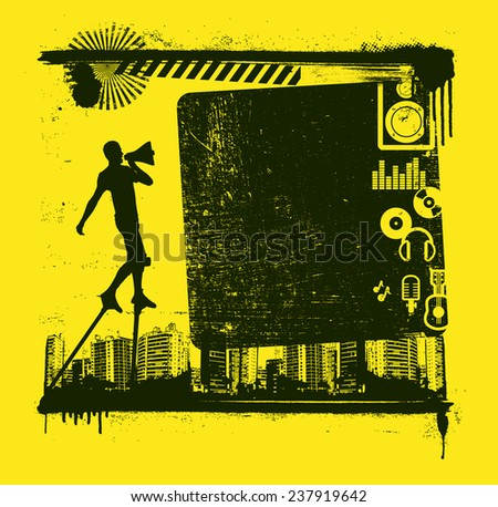 music frame with actor and icons - stock vector