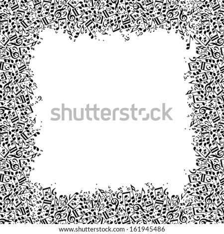 Music frame with notes black abd white vector vintage musical background. - stock vector