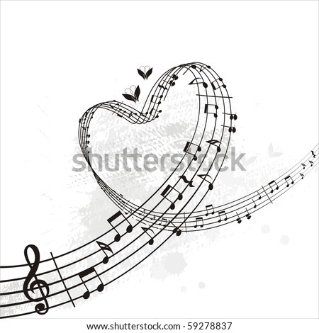 music from heart - stock vector