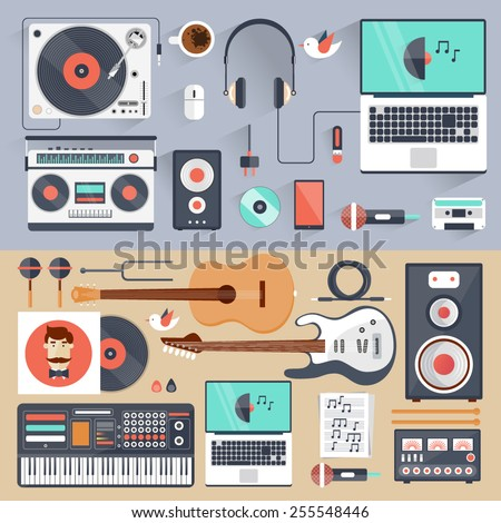 Music gadgets and instruments. Musician, DJ workplace. Vector illustration in flat style. Sound production. - stock vector