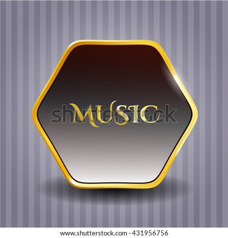 Music gold badge or emblem - stock vector