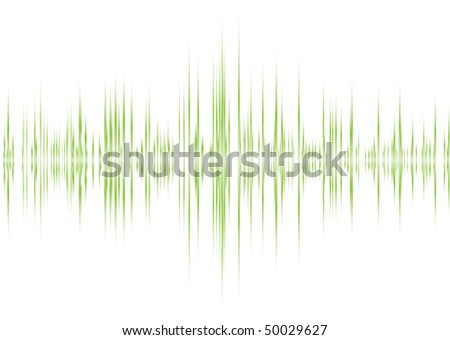music graphic equaliser inspired background in green and white - stock vector