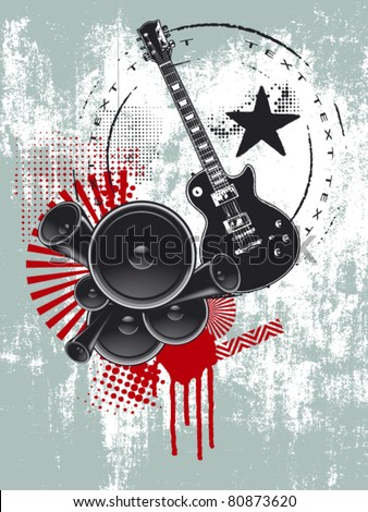 music grunge poster with speaker and guitar - stock vector